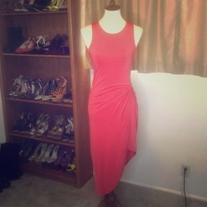 Tomato Orange Soprano Body Con Midi Dress